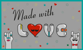 Inscription Made with love. Vector Illustration royalty free stock photography