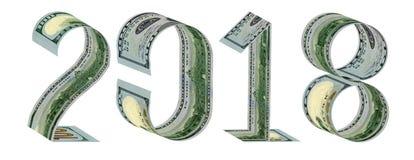 Inscription 2018 made of one hundred dollar banknotes 3D rendering. The inscription 2018 made of one hundred dollar banknotes 3D rendering. Isolated on white Stock Photos