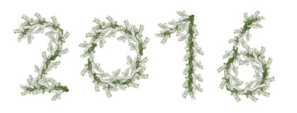 2016 inscription made from snow-covered fir branches isolated on white background.  Stock Images