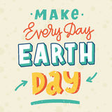 Inscription `Make every day earth day`  in a trendy lettering style. Royalty Free Stock Photography