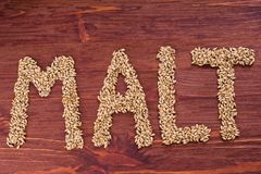 The inscription of malt by malt grains on wood background. Craft. Beer brewing from grain barley malt. Ale or lager from pale or dark pilsner malt stock photography