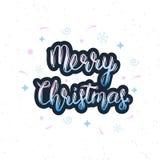 Inscription manuscrite de Joyeux Noël avec les éléments décoratifs Citation handlettering à la mode, copie d'art pour des affiche illustration stock