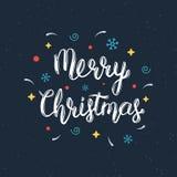 Inscription manuscrite de lettrage de Joyeux Noël avec les éléments décoratifs Citation à la mode de lettrage de main, copie d'ar Image stock