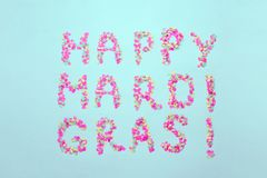 Inscription Mardi Gras from confetti. Mardi Gras. Holiday decoration cards, greetings, invitation card, banner stock images