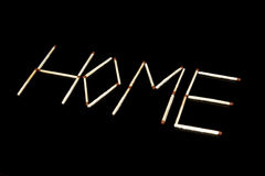The inscription of matches: home. Stock Image