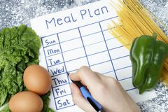 Inscription Meal Plan, schedule on white sheet and whriting hand. View from above. An inscription Meal Plan, schedule on white sheet and whriting hand. View from royalty free stock photos