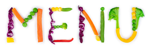 Inscription menu of vegetables Stock Photography