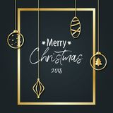 The inscription of Merry Christmas on a black background in a go Royalty Free Stock Photo