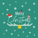 The inscription of a merry Christmas with a bullfinch, a gift an Stock Images