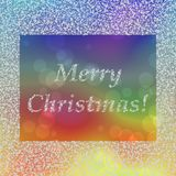 Inscription Merry Christmas in frame composed of snowflakes. On blue green red yellow bokeh background Royalty Free Stock Photos