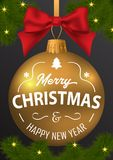 The inscription of merry Christmas and a happy new year on the b Stock Photography