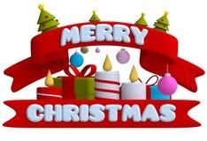 Inscription Merry Christmas in plasticine or clay Stock Photos