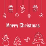 The inscription of merry Christmas on a red background with deco Stock Photo