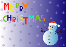 The inscription Merry Christmas and snowman with snowflakes Stock Images