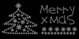 Inscription merry Christmas tree snowflake black background snow holiday atmosphere stock photos