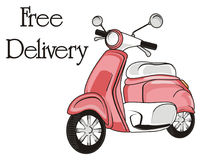 Inscription with moped. Pink moped with black inscription free delivery Royalty Free Stock Photo