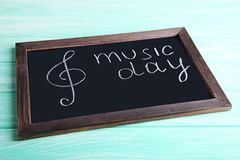 Music Day. Inscription Music Day on blackboard Royalty Free Stock Image