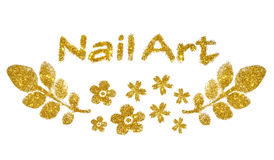 Inscription Nail Art and flowers of gold glitter sparkle on white background Stock Images