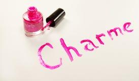 Inscription nail polish on surface Royalty Free Stock Images