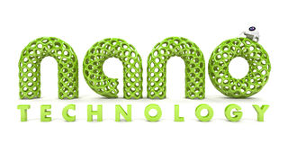 Inscription nanotechnology. On white background 3D Royalty Free Stock Photo