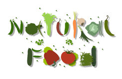 Inscription natural food made of vegetables. Inscription natural food composed of different kinds of vegetables Vector Illustration