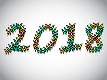 Inscription 2018 consisting of multi-colored butterflies. Inscription 2018 new year, consisting of multi-colored butterflies Stock Photography