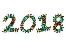 Inscription 2018 consisting of multi-colored butterflies. Inscription 2018 new year, consisting of multi-colored butterflies Stock Image