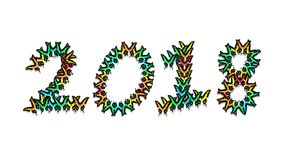 Inscription 2018 consisting of multi-colored butterflies. Inscription 2018 new year, consisting of multi-colored butterflies Royalty Free Stock Images