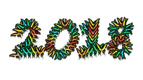 Inscription 2018 consisting of multi-colored butterflies. Inscription 2018 new year, consisting of multi-colored butterflies Royalty Free Stock Photography