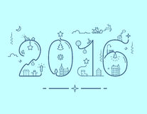 Inscription of New Year 2016 with decoration. Vector illustration of New Year 2016 inscription with decoration in line style Royalty Free Stock Photo