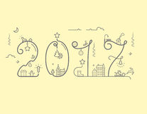 Inscription of New Year 2016 with decoration. Vector illustration of New Year 2016 inscription with decoration in line style Stock Image