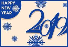 2019 inscription and new year greetings. In vintage style with snowflakes blue objects on a light yellow background vector illustration