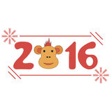 Inscription new year 2016 of red monkey. On a white background Royalty Free Stock Images