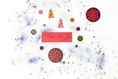 The inscription New Year on a white background is surrounded by festive, winter attributes. Beautifully laid out on a white backgr. Ound and sprinkled with dove vector illustration