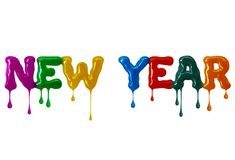 Inscription New Year written with colored glaze on white background royalty free stock photo