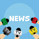 Inscription news and microphones Royalty Free Stock Images