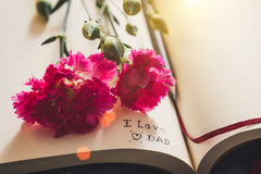 The inscription note ` I love you Dad` inside classic  paper book with bright pink carnation. Father`s day, Valentine`s concept Stock Photo