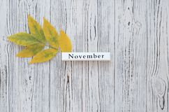 The inscription November and yellow leaf. royalty free stock photo