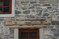 Inscription in Occitan for a rural museum in Ferrere, 1,869 m, municipality of Argentera, Maritime Alps (28th July, 2013). Stock Images