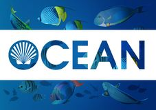 Ocean with fishes Royalty Free Stock Photos