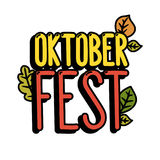 Inscription `Oktober fest` on a white background. It can be used for poster, concert ticket, sticker and other promo materials. Vector image Stock Images