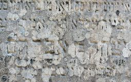 Inscription on the old Jewish gravestone. Inscription on the gravestone in the old Jewish cemetery in the Ukrainian Carpathians Stock Image