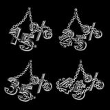 Inscription 15%, 25%, 35%, 45% in one style, metal with chain. Inscription 15%, 25%, 35%, 45%  metal style hanging on chain, on black background Royalty Free Stock Photo
