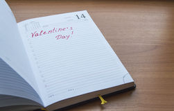 The inscription in the open diary Valentine`s Day Royalty Free Stock Image