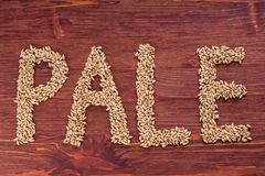 The inscription of pale by malt grains on wood background. Craft. Beer brewing from grain barley malt. Ale or lager from pale or dark pilsner malt stock image