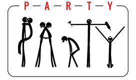 The inscription Party made from people figures. Vector illustrations for invitations to parties.  Royalty Free Stock Photo