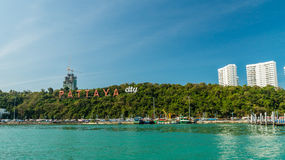 The inscription Pattaya resort in port, Thailand, Stock Photo