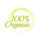 Inscription 100 percentage organic. Bright text with a circular green banner. Isolate on white background. Vector illustration template Stock Photo