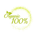 Inscription 100 percentage organic. Bright text with a circular green banner. Isolate on white background. Vector illustration template Stock Photography