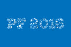 Inscription PF 2016 from snowflakes. Inscription PF 2016 from white snowflakes on blue background - vector illustration Stock Photo